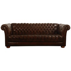 Brown Leather Button Tufted Chesterfield Sofa