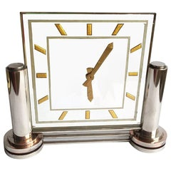 Large Impressive 1930s Modernist French Mirror Clock by Marti