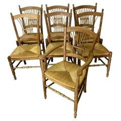 7 Italian Maple Chairs with Rush Seats