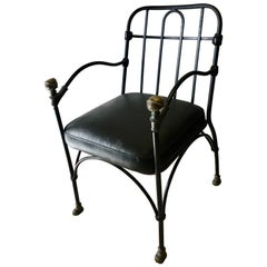 Wrought Iron Chair with Bronze Ball after Giacometti