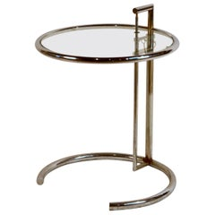 Eileen Gray Chrome and Glass Round Side Table