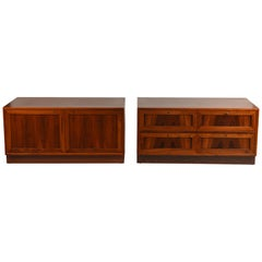 Incredible Pair of Rosewood Low Nightstands or Cabinets from Denmark