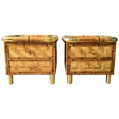 Rare Bamboo Parquetry Italian Bedroom Set Vanity and Pair of Nightstands, 1970s