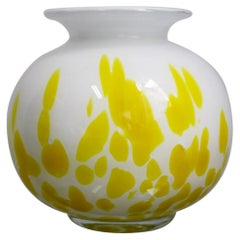 Midcentury White and Yellow Italian Glass Vase in the Style of A.V.E.M, 1960s