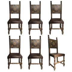 19th Century Italian Set of Six Renaissance Style Walnut Chairs
