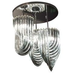 Alberto Donà Modern Style Crystal Murano Glass Curve Chandelier, 1996s