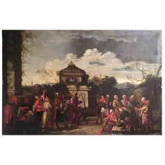 17th Century Italian Oil on Canvas Landscape Painting Depicting