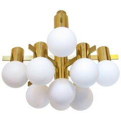 Swedish 1970s Glass Orb and Brass Chandelier by Hans Agne Jakobsson