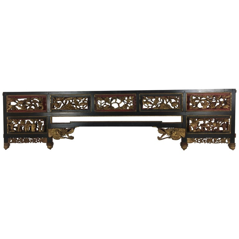 19th Century Chinese Carved Giltwood Figural Phoenix Lacquered Panel For Sale