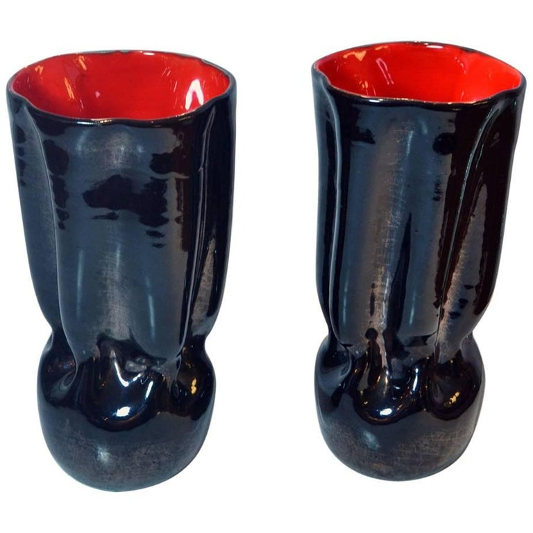 c54c2edbde75 1950s Belgium Pair of Black Ceramic Vases with Bright Red Glaze Inside For  Sale at 1stdibs