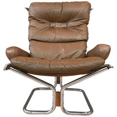 "Harald Relling for Westnofa ""Wing"" Leather and Chrome Lounge Chair"