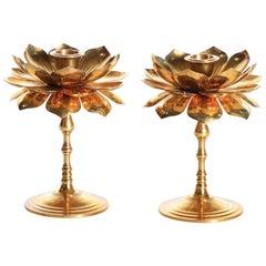 Pair of Feldman Lotus Candlesticks