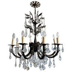 Early 1900s Heavy Cast Ornate Brass Chandelier with Cut Crystal Prism Drops
