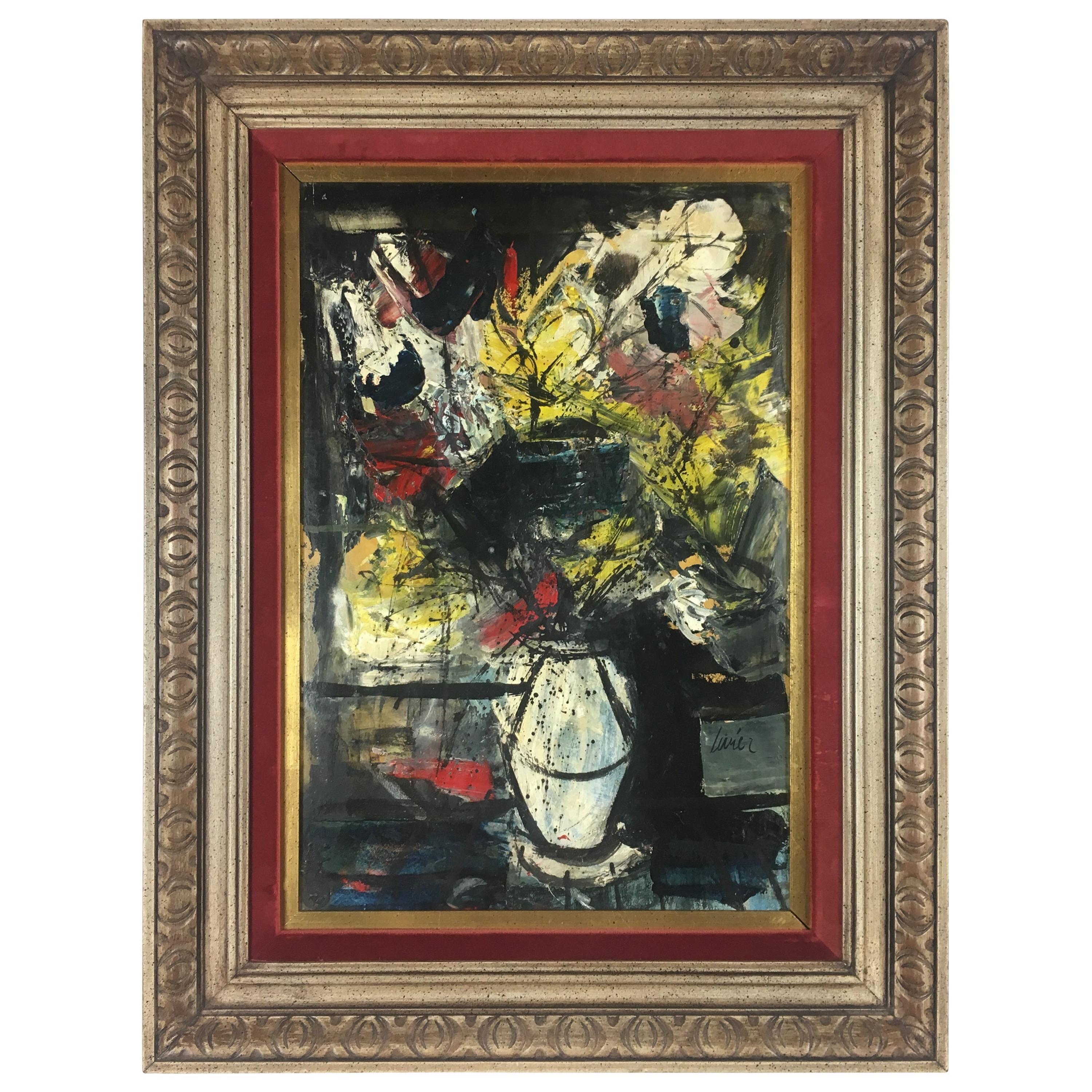 Charles Levier Modernist Oil on Board Still Life Painting
