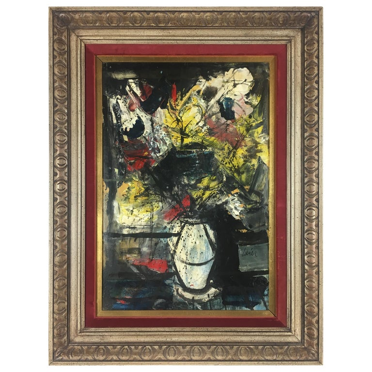 Charles Levier Oil on Board Still Life Painting For Sale