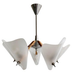 Midcentury Copper and Chrome Uplighter Chandelier with Plastic Frosted Shades