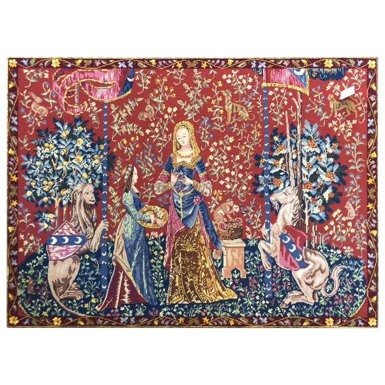 """""""The Lady and the Unicorn"""" Woven Flanders Tapestry in Style For Sale"""