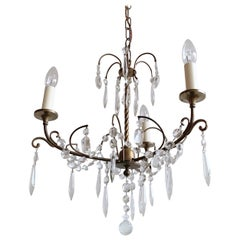Earl 1900s Delicate Three-Arm Brass Chandelier with Hand Cut Crystal Drops