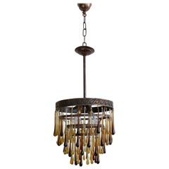 Early 1900s Waterfall Chandelier Dressed in Modern Colored Glass Teardrops