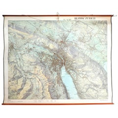 City of Zurich, Decorative Wall-Mounted Map of the City, 1950s
