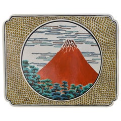 Japanese Contemporary Red Yellow Kutani Porcelain Charger by Master Artist