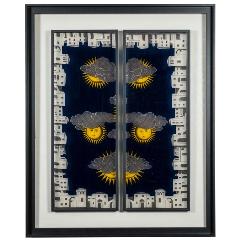 Framed Fornasetti Painted Panels For Sale