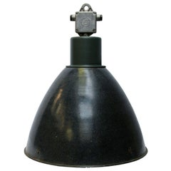Large Dark Gray Enamel Vintage Industrial Pendant Light