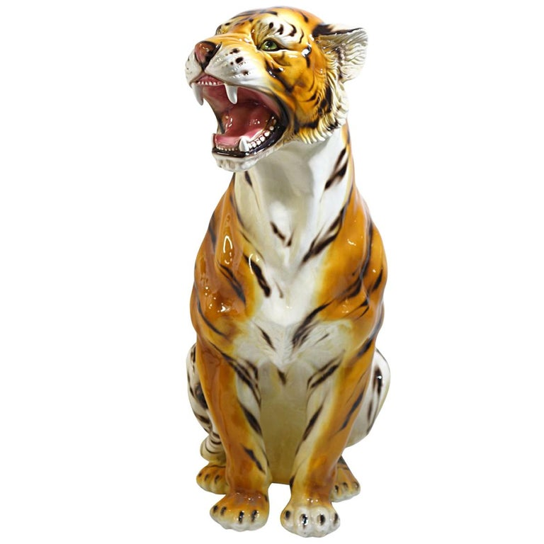 Big Mid-Century Modern Ceramic Tiger in the Style of Ronzan Marked Made in Italy For Sale