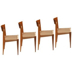 Set of 4 PIA Chairs from Poul Cadovius for Girsberger, Raffia, Walnut, 1960s