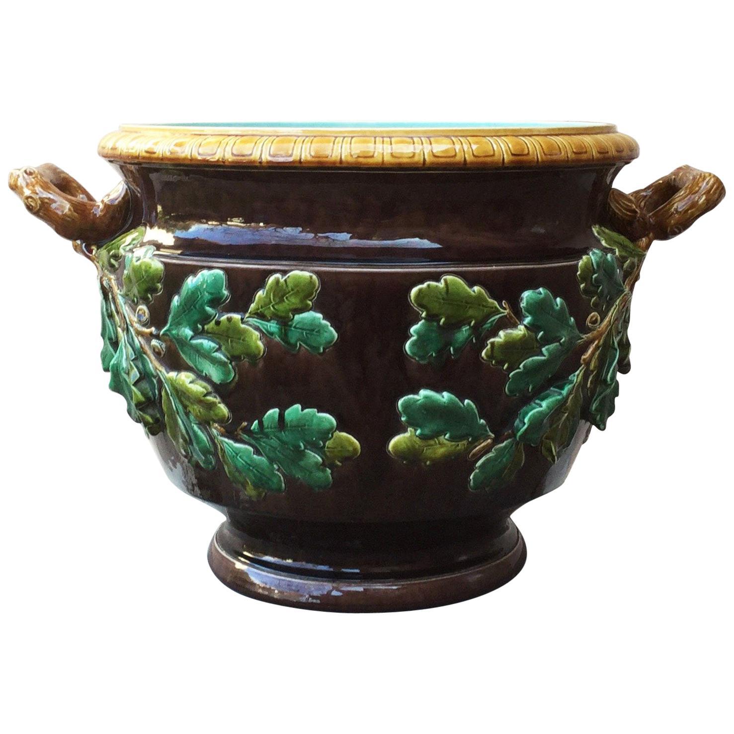 19th Century Monumental Majolica Oak Leaves Cache Pot Planter Sarreguemines