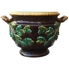 19th Century Monumental Majolica Oak Leaves Cache Pot Planter Sarreguemines
