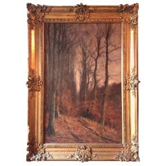 Large Antique Painting, French Giltwood Wall Mirror or Picture Frame