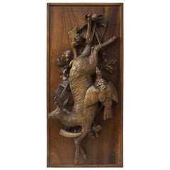 19th Century Black Forest Carved Wood Hunt Trophy Plaque