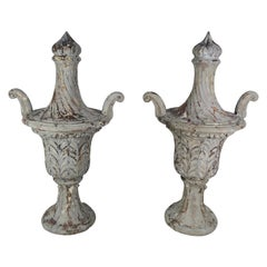 Pair of Grand Scale Carved Wood Painted Flamed Finial Urns