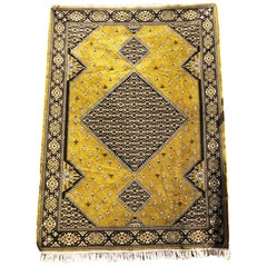 Moroccan Cactus Silk Loomed Area Rug - Soft Gold Velvet, Persian Style 7x10