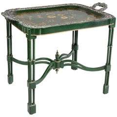 Victorian Papier Mache and Silver Plated Tray Table
