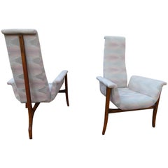 Magnificent Sculptural 3-Leg Lounge Chairs Mid-Century Modern, Pair