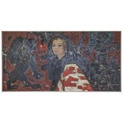 Huge Midcentury Oil on Canvas with Sophia Loren as Cleopatra by Ivan Sedliský