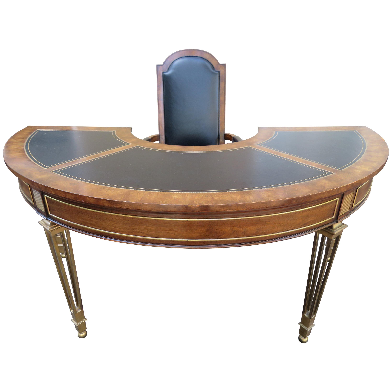 Spectacular Mastercraft Burled Walnut Brass Demi Lune Desk with Matching Chair