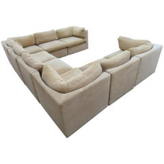 Wonderful 8 Piece Milo Baughman Curved Seat Sectional Sofa Mid-Century Modern