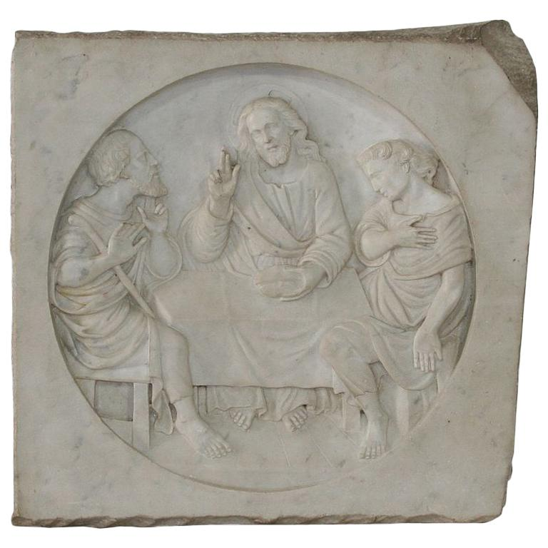 Italian 19th Century White Marble Classical Panel of Christ For Sale