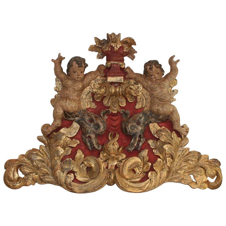 Large Late 18th Century Portuguese Baroque Panel with Angels and Dragons For Sale