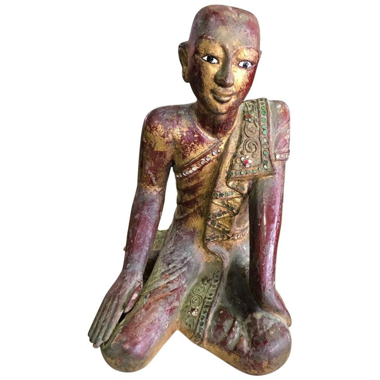 Thai Wood Carved, Polychrome and Gilt Sculpture of Buddhist Temple Monk For Sale