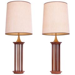 Pair of Tall Mid-Century American Modern Walnut and Brass Table Lamps