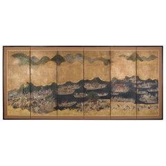 Edo Period Six Panel Folding Screen, Depicting the Hie Sanno Matsuri Festival