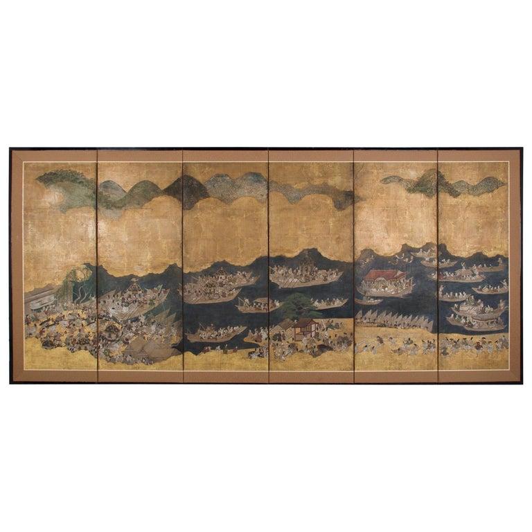 Edo Period Six Panel Folding Screen, Depicting the Hie Sanno Matsuri Festival For Sale