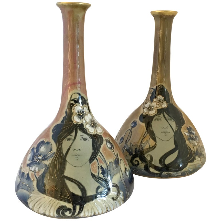 Art Nouveau Set Vases Enameled Amphora Porcelain Riessner Stellenmacher, 1900 For Sale