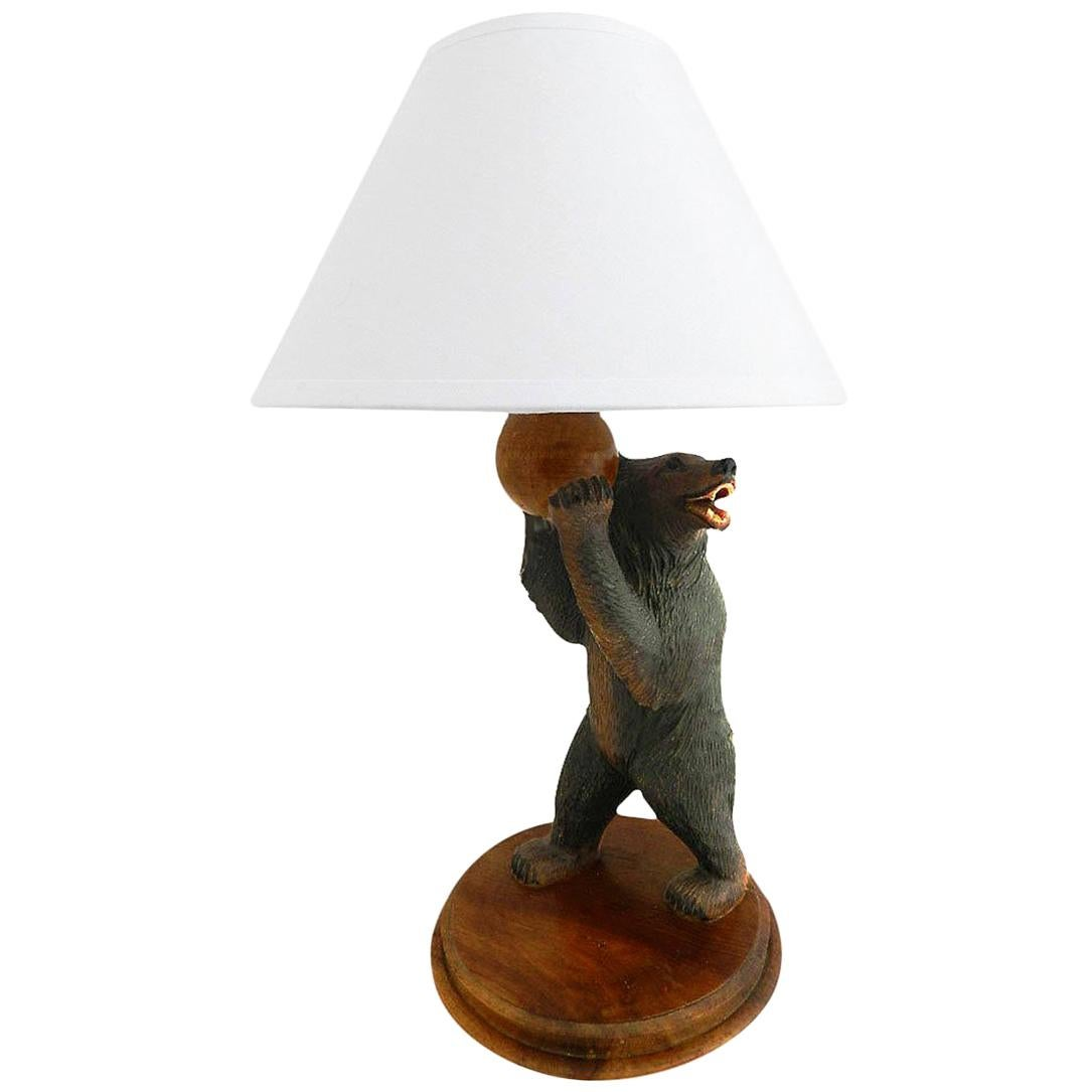 Black Forest Bear Table Lamp Early 20th Century Carved Wood