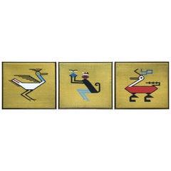 Triptych Fiber Art Wall Hangings, Midcentury