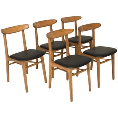 Set of Five Vintage Faux Leather Dining Chairs, 1960s